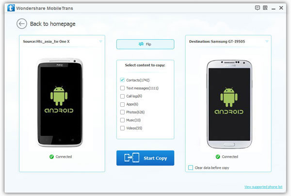 transfer android contacts to another