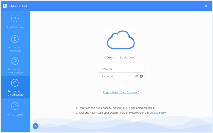 select recover from icloud backup mode