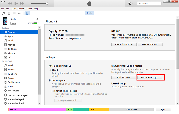 restore iPhone sms from iTunes