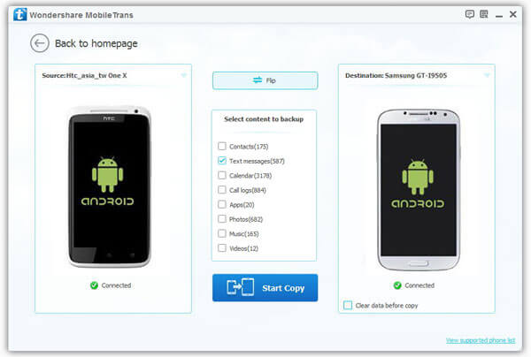 transfer sms from android to Samsung Galaxy S6