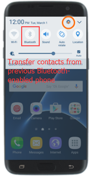 transfer contacts to samsung galaxy s7 by bluetooth