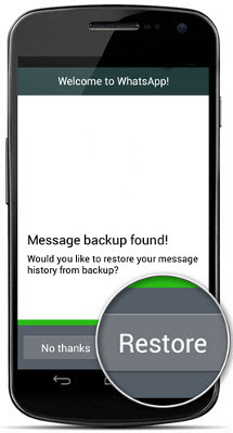 restore whatsapp history to Android from backup