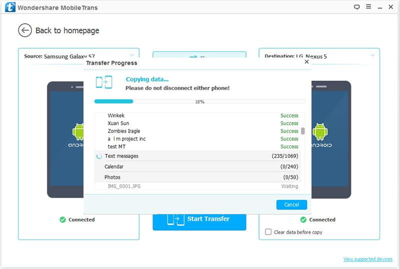 transfer Samsung data to LG G5/Nexus 5