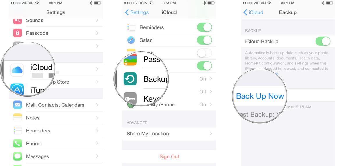 backup iphone 7 data via icloud