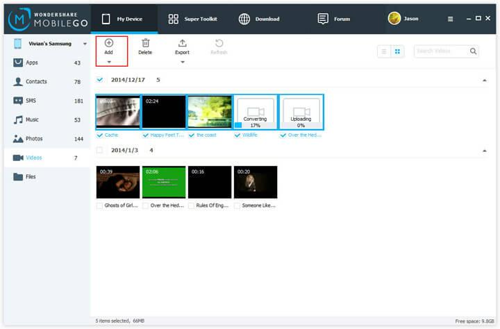 sync videos from pc to samsung