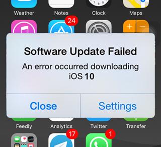 fix ios 10 software update failed