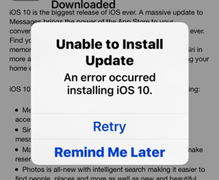 unable to install update ios 10 error