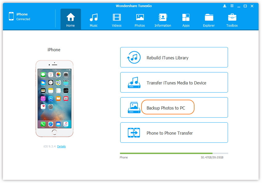backup iphone photos to pc and free up sapce