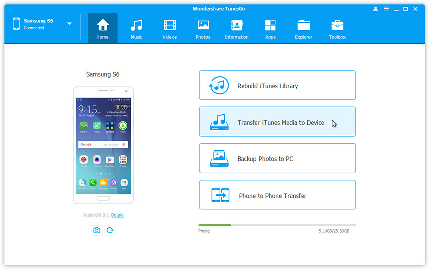 transfer music and videos from itunes to samsung galaxy