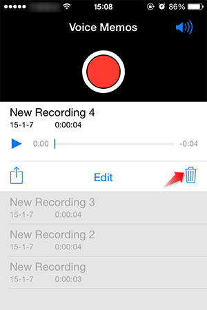 delete voice memos from iPhone
