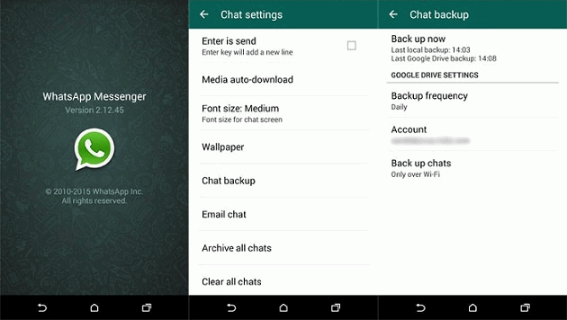 transfer whatsapp messages via backup feature