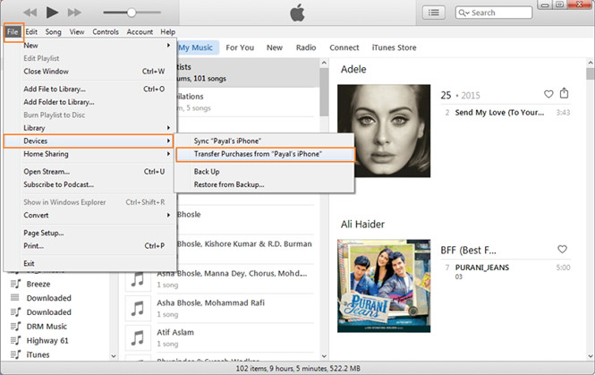 transfer music from old iPhone to iTunes